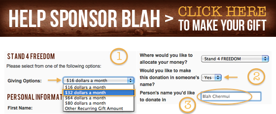 Help Sponsor Blah > Click here to make your gift