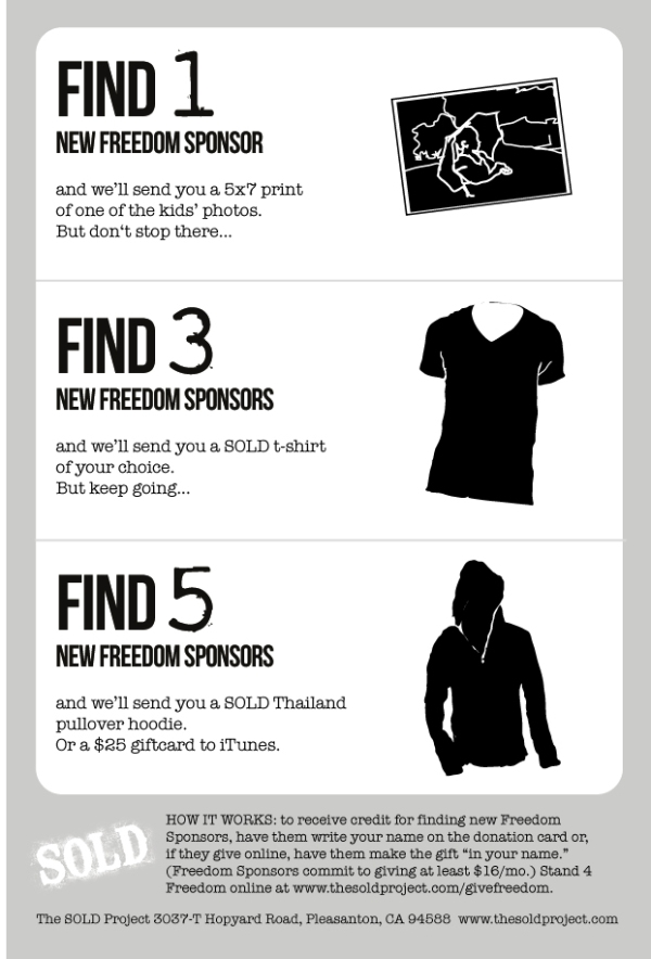 Find 1, 3, 5 or more friends to join you in supporting SOLD and earn free merch.