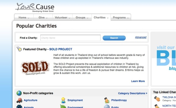 SOLD featured on YourCause.com