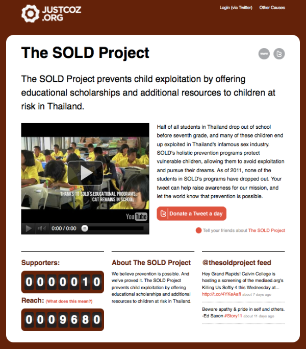 Donate a Tweet to The SOLD Project